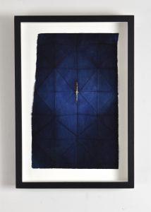 Be Here Now, Justine Johnson, 43cm x 30 cm, 2020, indigo, pigment, 24k,on washi,