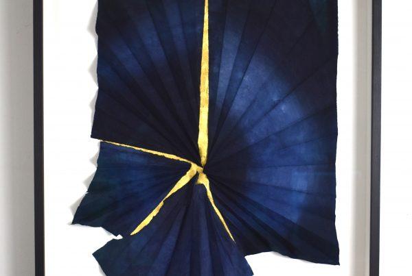 Blueshift, Justine Johnson, 82cmx 59cm x 6cm, 2020,indigo,pigment,24k on washi