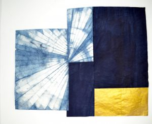 JOHNSON JUSTINE , 'Planning Ahead II' , 61x49 (153x124cm), Indigo, Japanese paper, gold. 2017