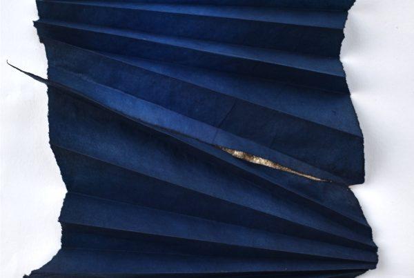 'One Note ' Justine Johnson,H18cm x W17cm, indigo,moon gold on washi , 2021